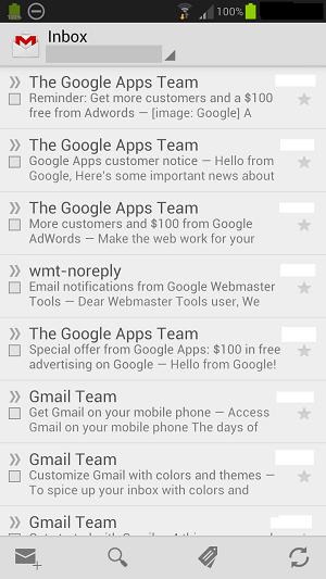 Gmail app open