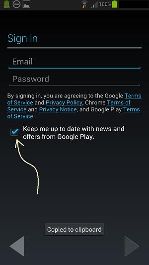 Google Play option