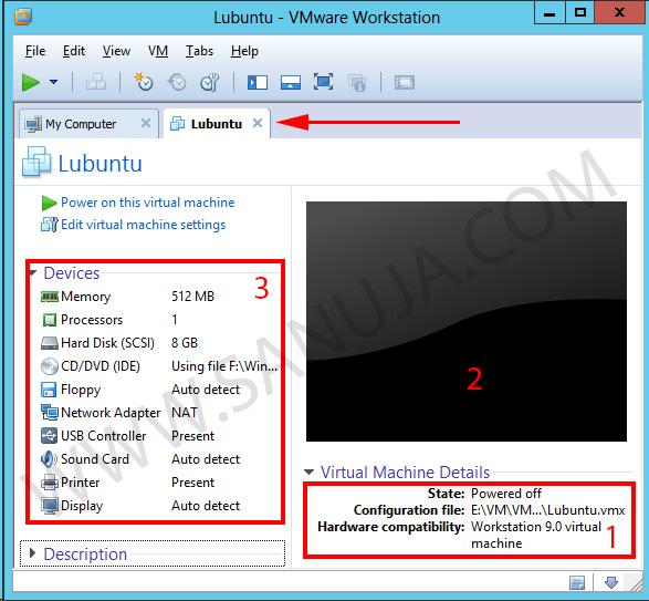 VM open tab.