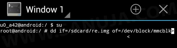 "Example of a terminal with recovery image named as ""re.img""."