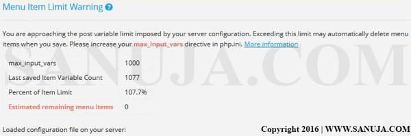 A typical PHP max_input_vars error message.
