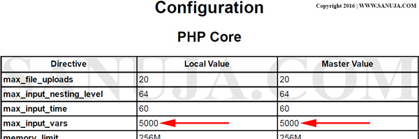 PHP Server Configuration Data
