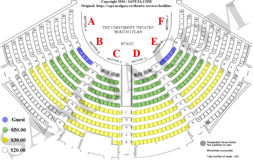 University of Calgary Theater seating arrangement with designated sections.