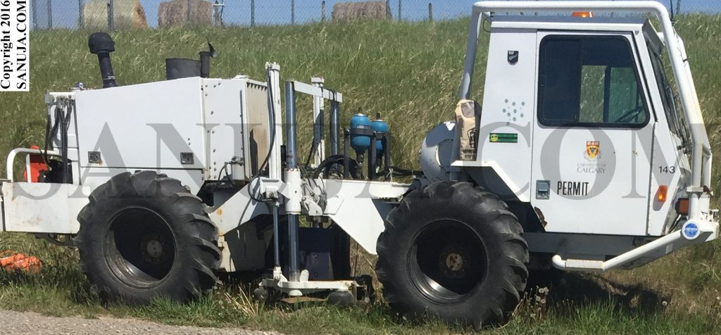 "Seismic Vibrator Truck: the ""hammers"" are in the center."